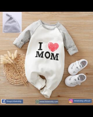 2-Piece Newborn Infant I Love MoM Letter Jumpsuit + Hat Set