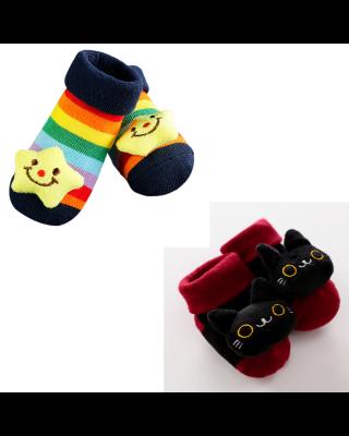 2-Pairs Pack Newborn Baby Cartoon Warm Winter Socks
