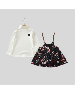2 Piece Toddler Girl High-necked Tee with Floral Pattern Top Clothing Set