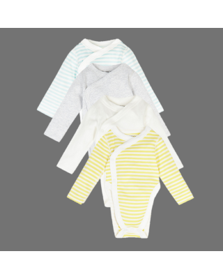 4-Piece Pack Marks and Spencer Pure Cotton Hip Dysplasia Bodysuits (7lbs-12 Mths)
