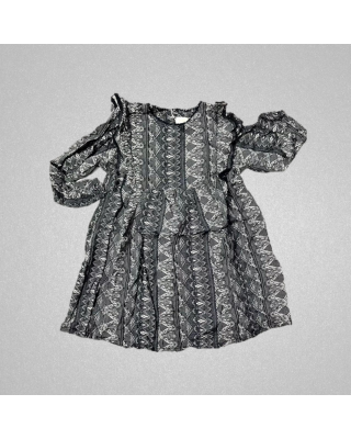 Baby Girl Black White Designed Casual Wear Frock