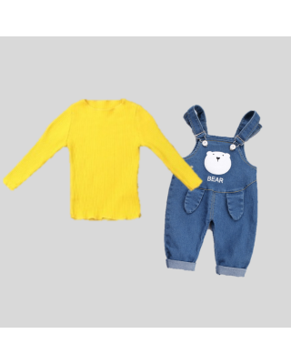 2 Piece Baby Boy/Girl Overall Dungaree with Inner Tee Clothing Set (6 Months)