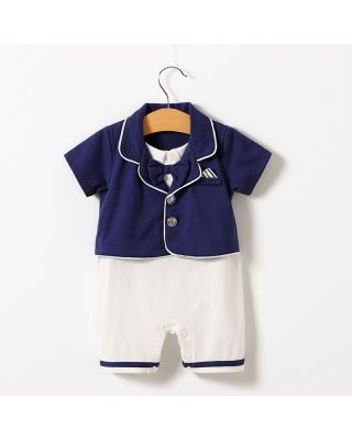 Faux-two Gentleman Navy Blue Romper with Bow Tie (0 - 18 Months)