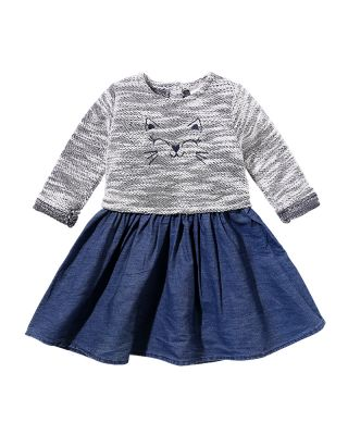 Kitty Print Long-sleeve Autumn Spring Season Dress for 9 to 24 Months