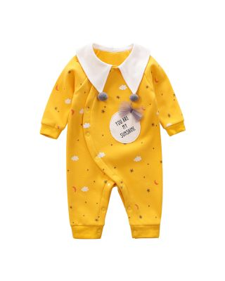 Baby Girl Cloud and Stars Allover Winter Long-sleeve Jumpsuit 0 to 18 Months
