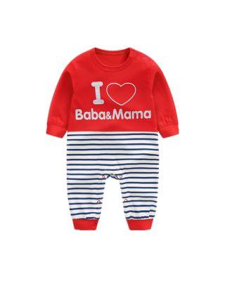 I Love Mama Baba Printed Stripe Pattern Romper Jumpsuit