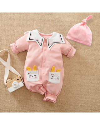 2-Piece Baby Girl 100% Cotton Star Pattern Pink Romper + Hat Set