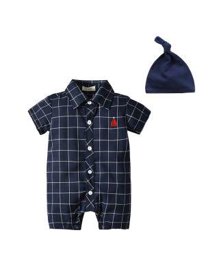 2-Piece Baby Unisex Royal Navy-blue Bodysuit + Hat Set