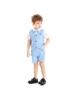 3-Piece Baby Toddler Boy Shirt + Shorts and Waist Coat Set