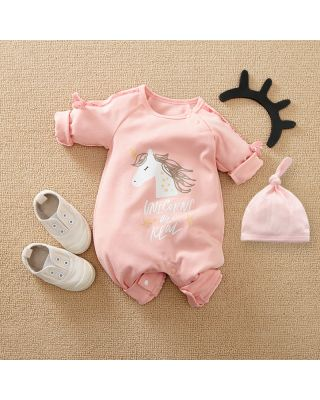 2-Piece Newborn Infant Baby Girl Unicorn Jumpsuit + Hat Set