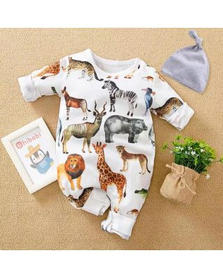 2-Piece Baby Boy/Girl Safari Animal Theme Romper Jumpsuit