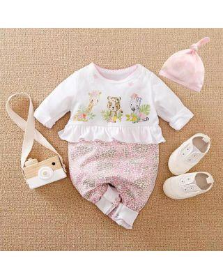 2-Piece Newborn Adorable Safari Theme Jumpsuit + Hat for Baby Girl