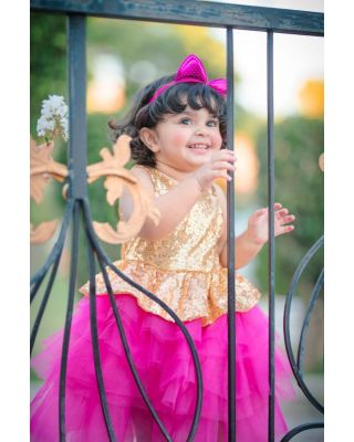 Baby/ Toddler Girl's Sequin Silver Hot-pink Layered Party Dress