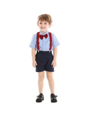 Baby Boy Formal Party Wear Suit With Bow Tie & Suspender