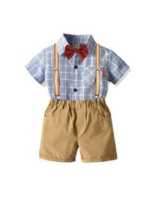 Baby Boy Plaid Design Formal Gentleman Suit with Suspender & Bow