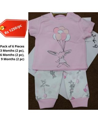 Baby Girl Balloon Character Theme Printed Summer Clothing Set in Wholesale (Set of 6pcs)