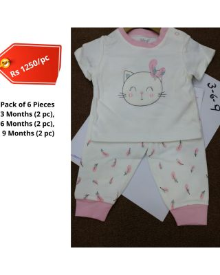 Baby Girl Kitty Design Printed Summer Clothing Set in Wholesale (Set of 6pcs)
