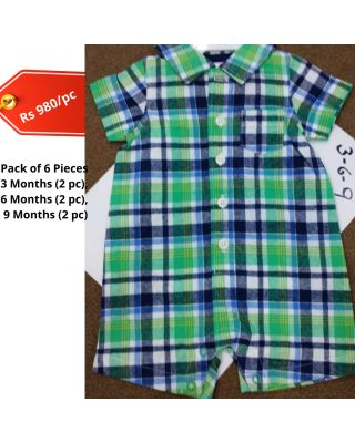 Baby Boy Plaid Green Design Summer Imported Romper Set in Wholesale (Set of 6pcs)