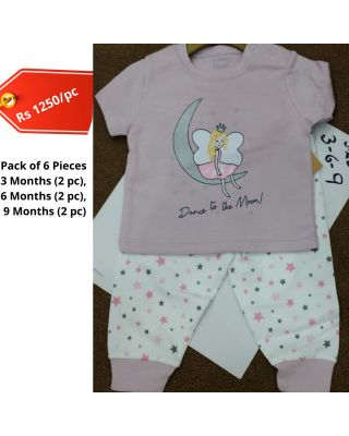 Baby Girl Moon Printed Summer Clothing Set in Wholesale (Set of 6pcs)