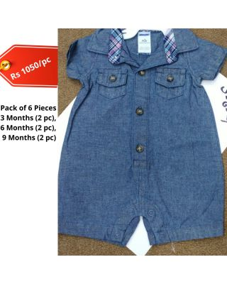 Baby Boy/Girl Blue Color Summer Imported  Jumpsuit in WholeSale (Set of 6 pieces)