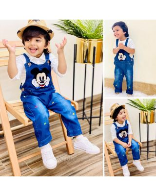 Baby Toddler Unisex Disney Mickey Mouse Denim Dungaree Overalls Romper