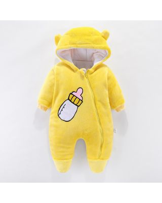 Baby Boy/Girl Feeder Design Solid Yellow Winter Hooded Jumpsuit